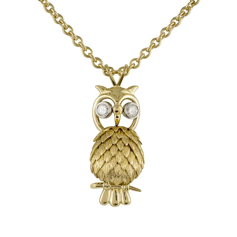 18k Yellow Gold Diamond Set Owl Pendant